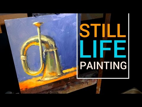 Painting Brass & Reflections | Bugle Still Life Oil Painting