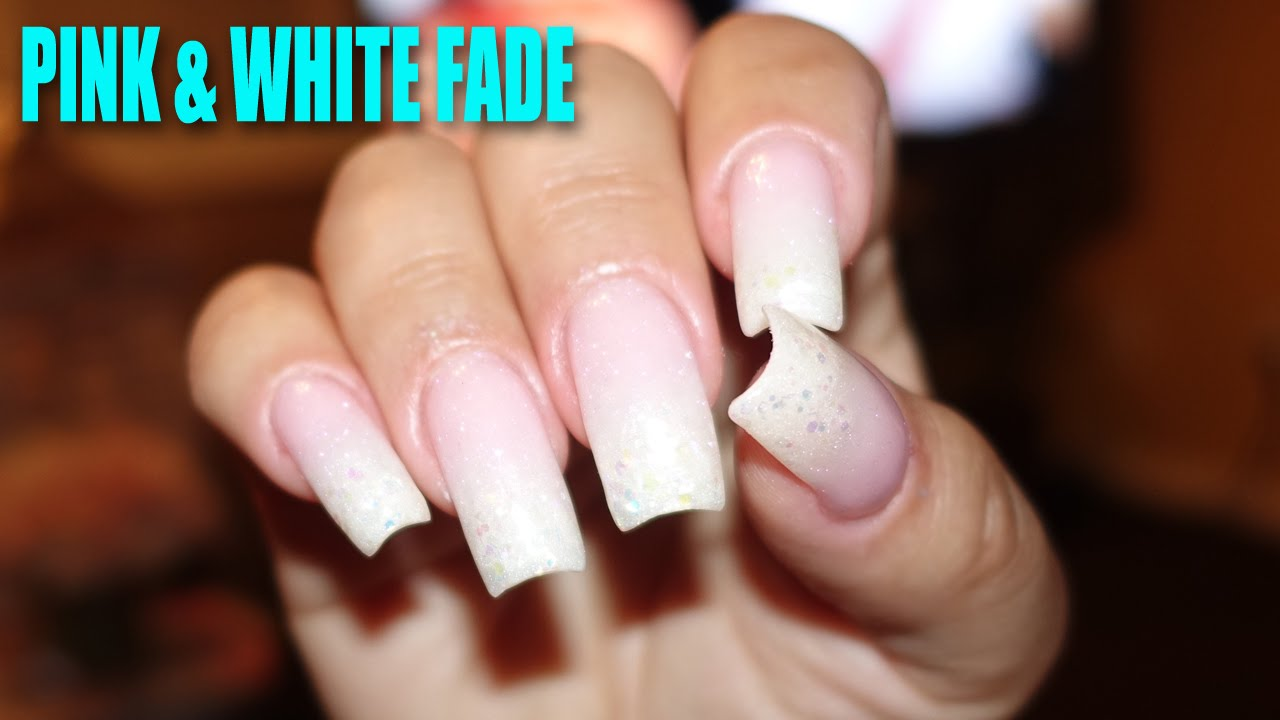 Pink White Fade Ombré Nails Youtube