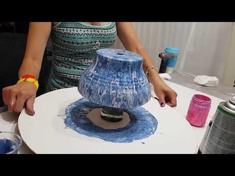 Double pour acrylic flow art blues terracotta pot silicone added half way through