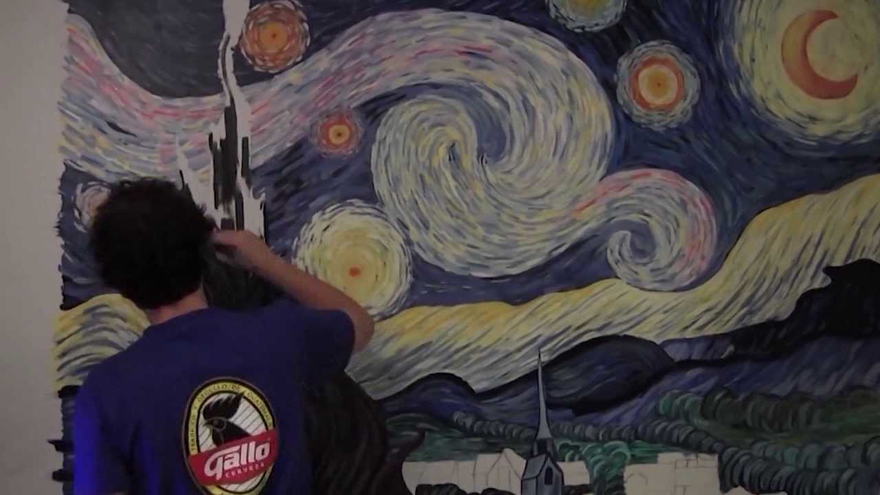 High Quality Starry Night By Vincent Van Gogh  MURAL PAINTING  (Timelapse Art  Reproduction)   YouTube Part 14