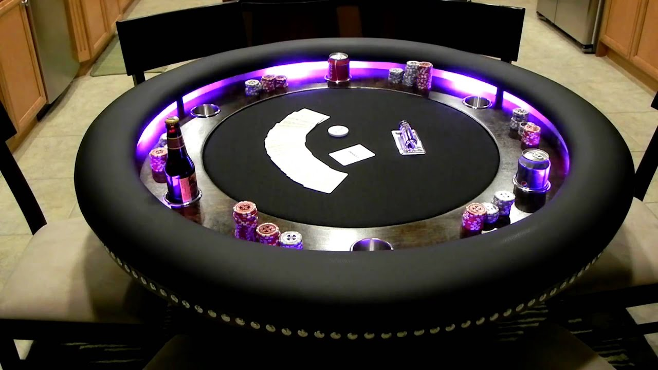 Custom 6 Person Poker Table Lights In Action   YouTube