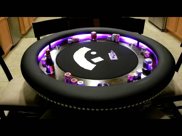 Custom 6 person Poker Table lights in action