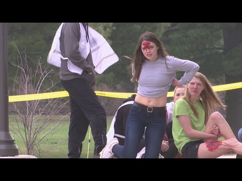 Students play victims in Rock Valley College's active shooter drill