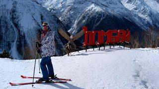 Домбай 2020 Лесная трасса спуск на горных лыжах с 3 уровня до посёлка