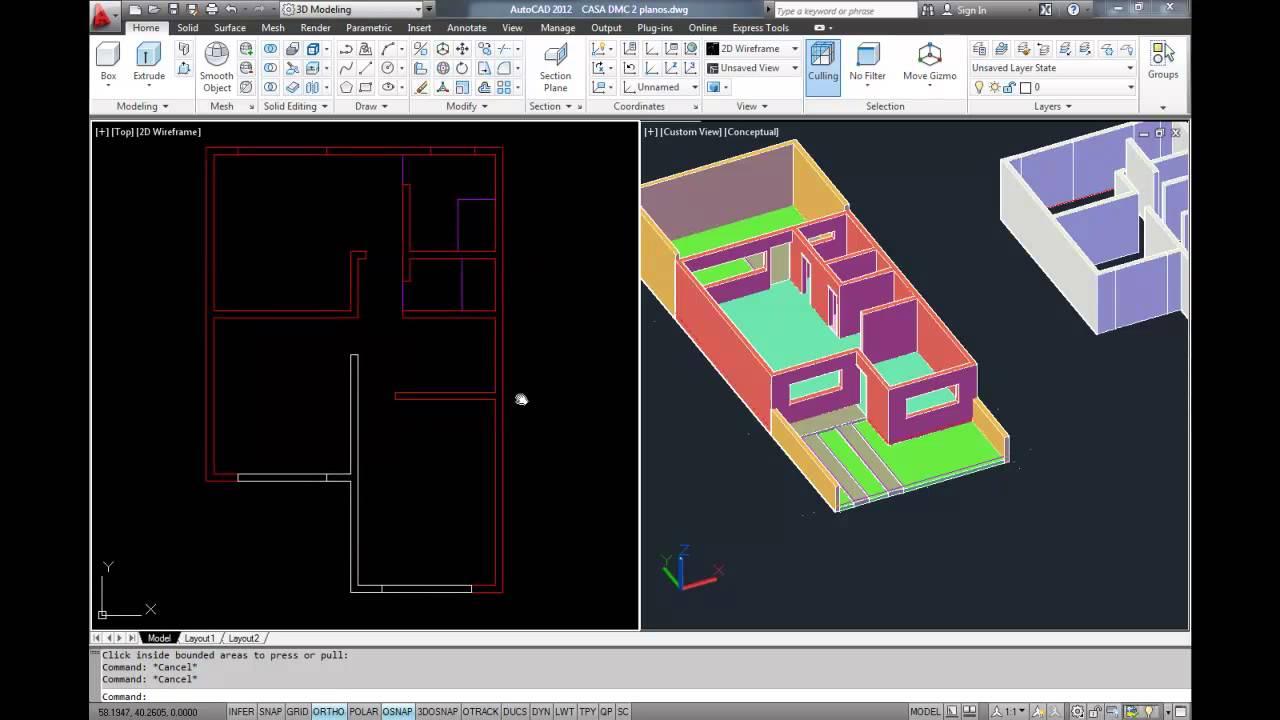Modelar una casa en autocad 3d youtube for Modelar habitacion 3d max