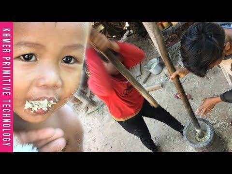 Khmer Primitive Technology: Khmer Traditional Outlook Hit the Rice (Survival Skills) - (AMBOK)