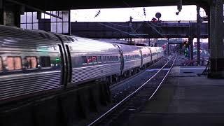 (HD) Evening rush hour trains at Newark Penn Station - 23/3/17