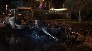 Incendio camper a Pietra Ligure (viale della Repubblica)