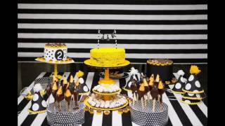 Yellow and black party themed decorating ideas