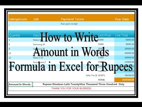 How To Convert Amount In Words In Excel For Rupee Or Any Currency