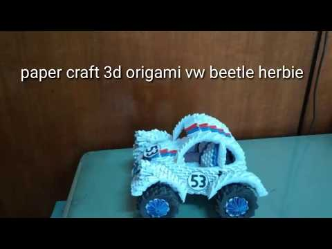 Paper craft 3d origami vw beetle herbie