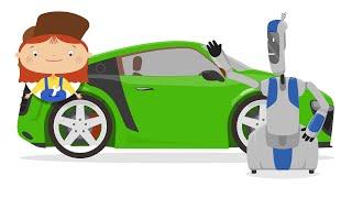 Мультфильмы про машинки. Доктор Машинкова и робот Скрепыш собирают автомобиль