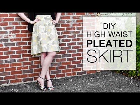 Diy High Waisted Pleated Skirt Tutorial Free Pattern Youtube