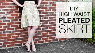 Diy High Waisted Pleated Skirt Tutorial - Free Pattern