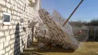 Заваливание газоблочной стены spb-stroydom.ru Попытка №2 (удачная)