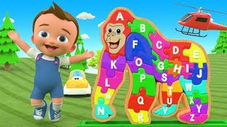 Gorilla Alphabets A-Z Wooden Puzzle ToySet 3D Kids Education Little Baby Fun Learning Alphabet Songs