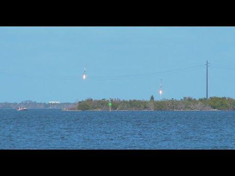 Falcon Heavy Twin Boosters Landing 4K