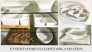 NEW HOME!! ENTERTAINMENT CLOSET ORGANISATION | CROCKERY & SERVEWARE