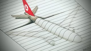 Türkish Airlines 3D Plane  Drawing Timelapse