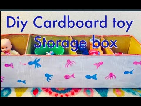 DIY Cardboard Toy storage box   Recycling of Amazon box