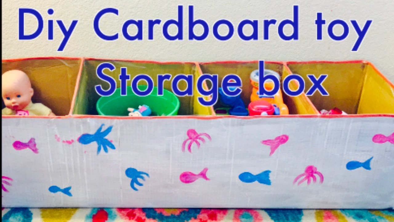 Diy Cardboard Toy Storage Box Recycling Of Amazon Box Youtube