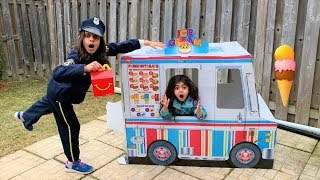 Kids Pretend Play Police Mcdonalds Happy Meal Delivery to Ice cream Truck