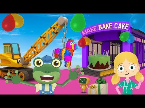 Geckos SURPRISE Birthday Party  Truck Cartoons For Children  Geckos Garage