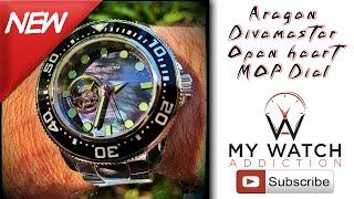 ARAGON Divemaster Open Heart MOP Dial Watch Review: A063BLK