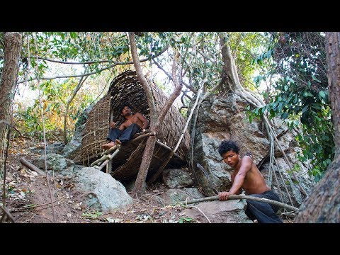 Build amazing house on the cliff using vines | Primitive Technology | Building Skill