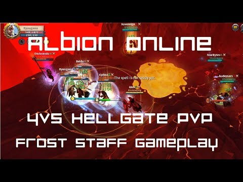 Albion Online: Yellow Zone Hellgate - 4 vs 5 Hellgate PvP - Frost Staff Gameplay
