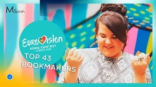 Eurovision Song Contest 2018. Bookmakers (odds) top 43 before rehearsals (17/03/2018)