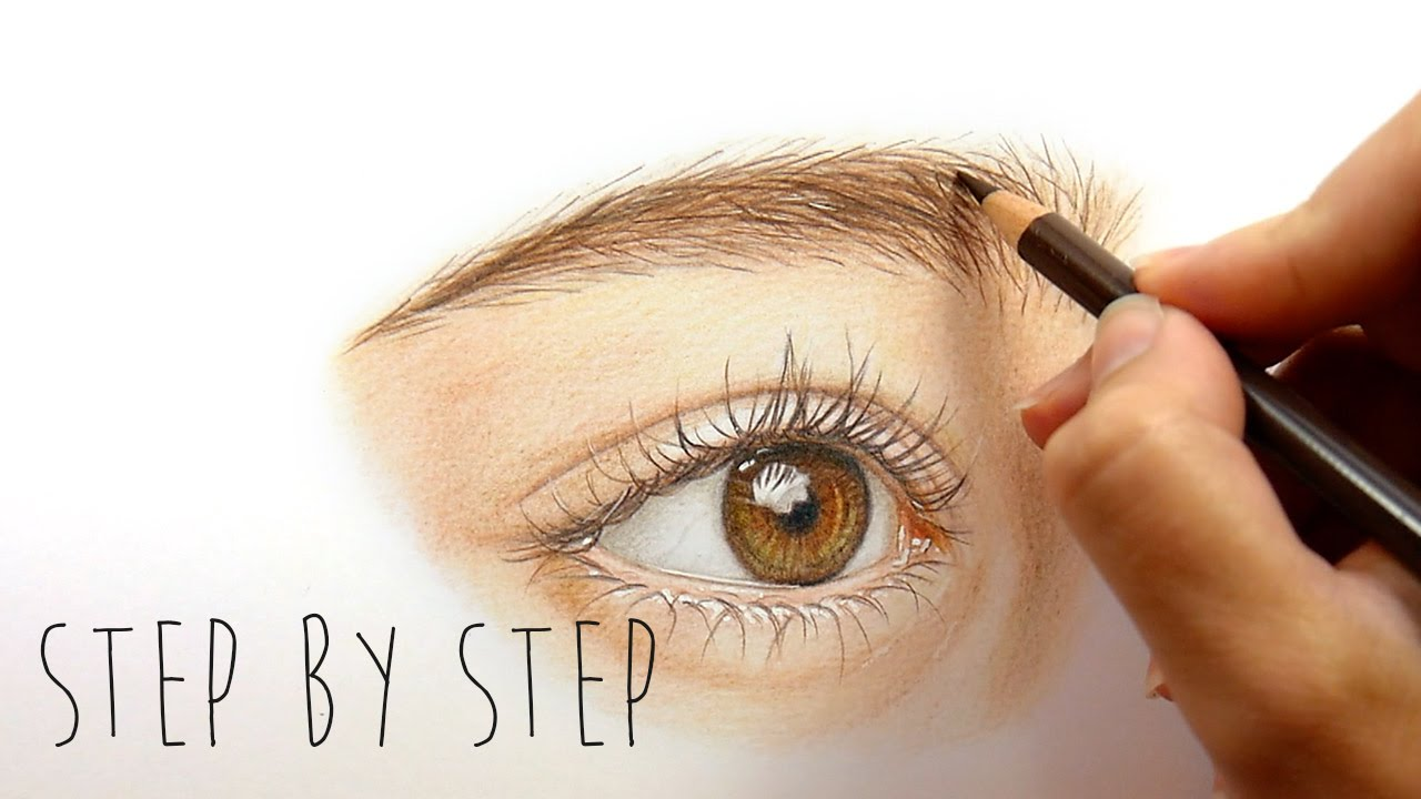 Step by step how to draw and color a realistic eye with colored pencils emmy kalia youtube