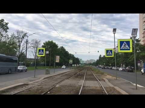 Санкт-Петербург, по 7 маршруту на трамвае из кабины