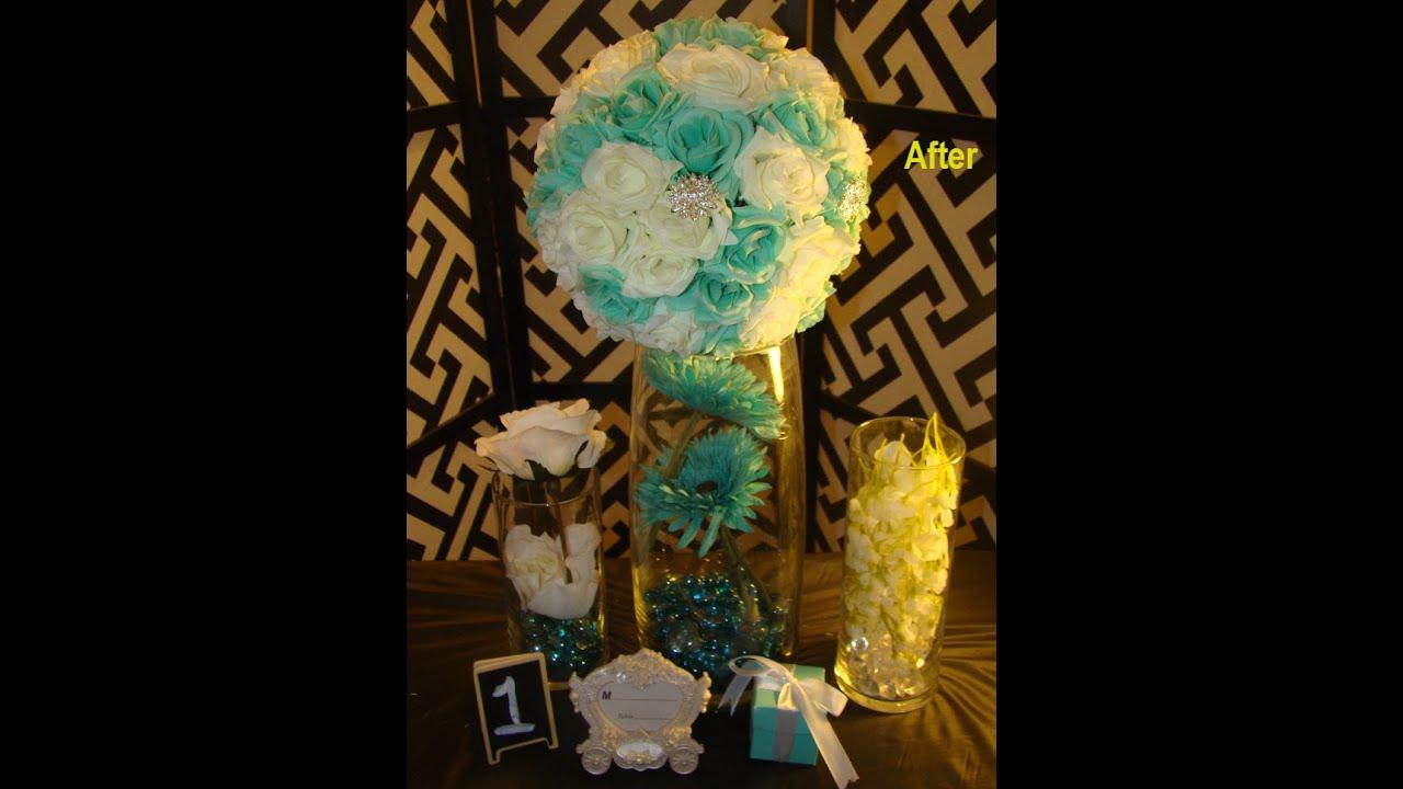 DIY Tiffany Blue and White Clear Crystal Wedding Flower Balls - YouTube