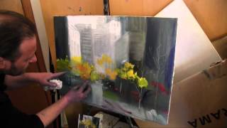 Деревья среди небоскребов, уроки живописи для новичков, Сахаров Игорь