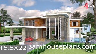 Sketchup Drawing + Lumion Render 4 Bedroom Exclusive Modern Villa design Size 15.5x22.4m