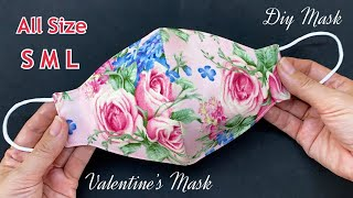 Very Easy Cute Valentine s Rose Mask New Diy Breathable 3 Layers Face Mask S M L Sewing Tutorial