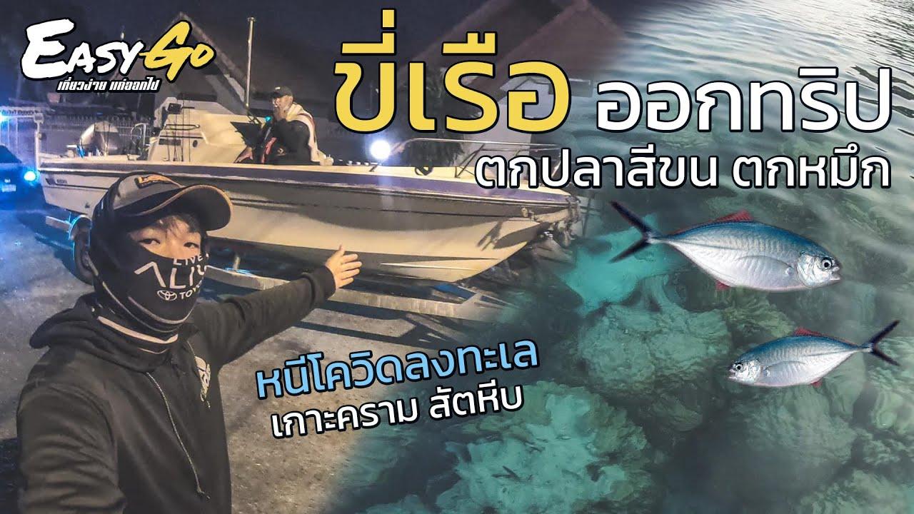 ตกหมึก ตกปลา พัทยา ขี่เรือออกทริป เกาะครามสัตหีบ ตกปลาสีขน