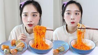 얇은피만두와 팔도비빔면 먹방 _ JMT 만두와 여름끝자락의 비빔면 :D