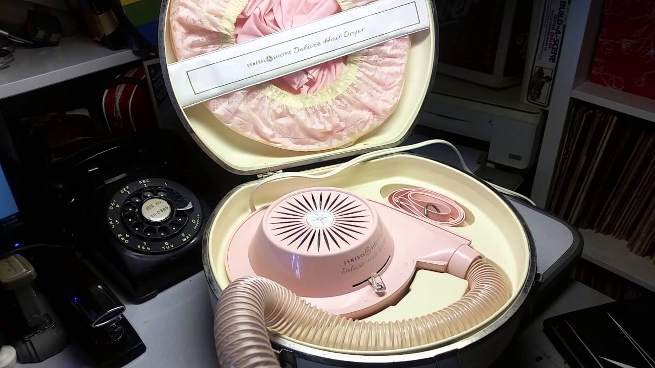 Vintage 1960s Ge General Electric Deluxe Pink Hair Dryer