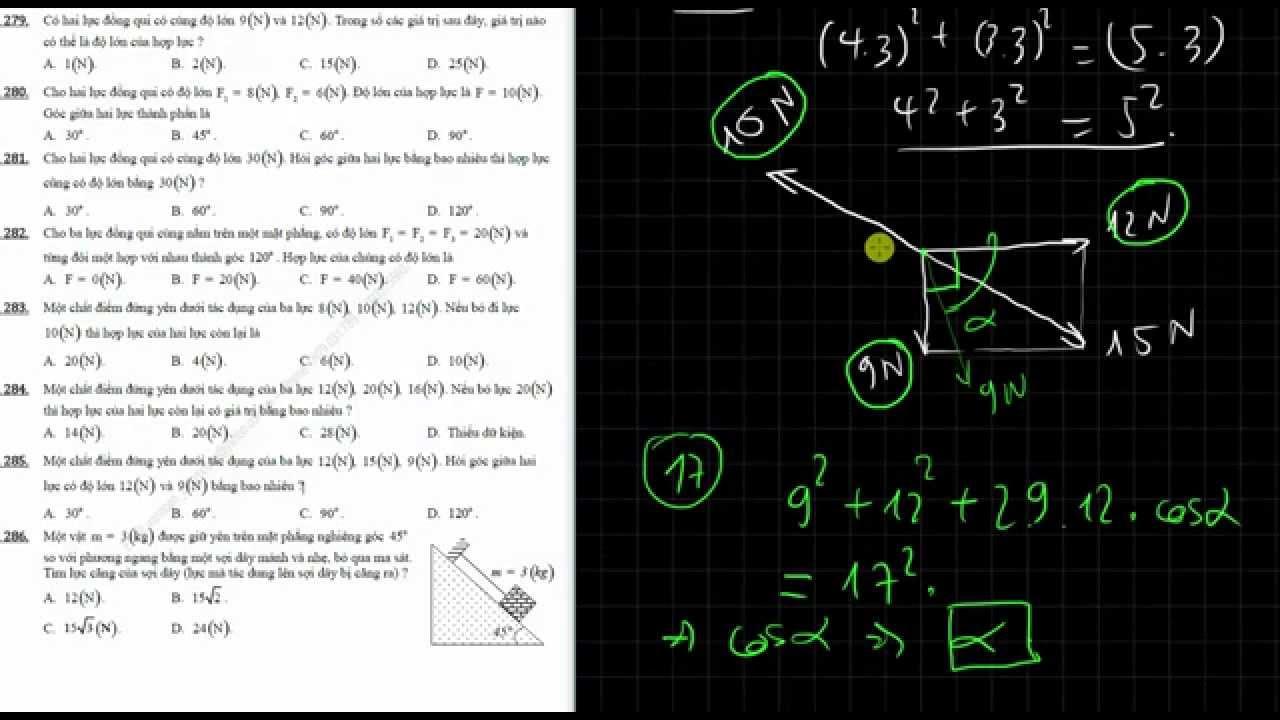 [Vật lí 10 cơ bản và nâng cao]  Bài 13  Lực, tổng hợp và phân tich lực. Giải bài tập trắc nghiệm