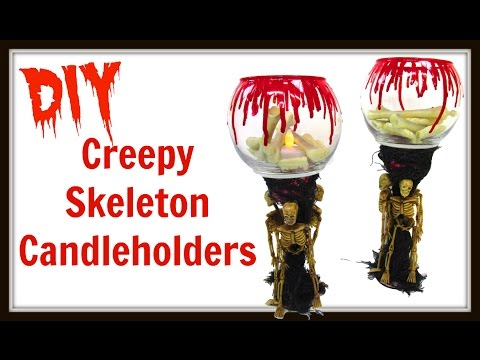 Creepy Skeleton Candle Holders | DIY Project | Dollar Store Craft | Craft Klatch | How To