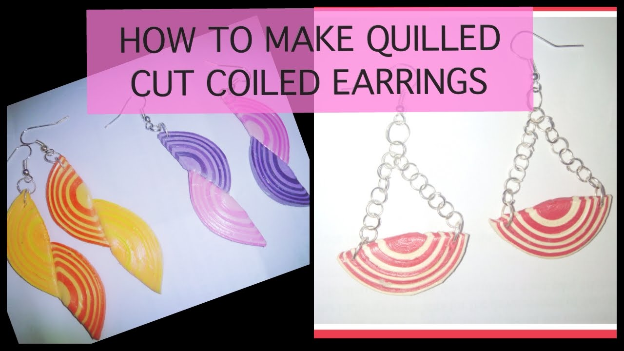 Papercraft QUILLING EARRINGS : HOW TO MAKE HALF CUT QUILLING COIL EARRINGS .
