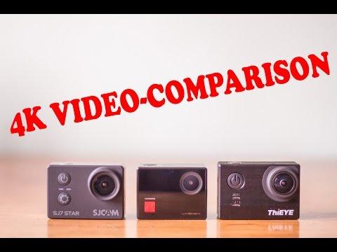 SJCAM SJ7 Star, ThiEYE T5E, LeSports Liveman C1 4K-video comparison