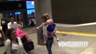 Rebecca Gayheart spotted arriving to Lax with her kids