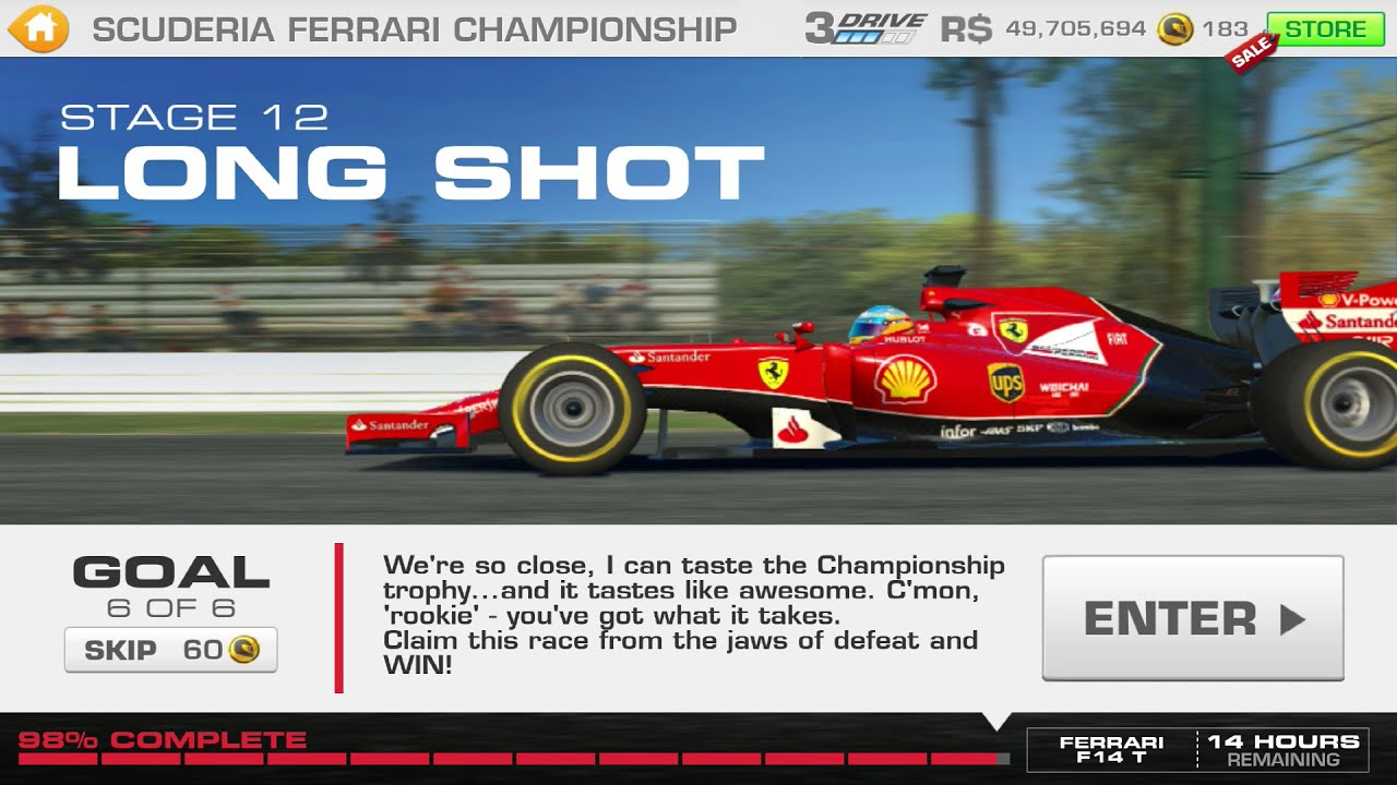 Real Racing 3 : 2014 F14 T Scuderia Ferrari Championship Stage 12 Goal 6  LONG SHOT   YouTube