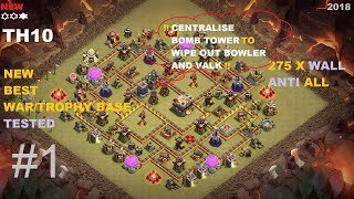 New Best TH10 Anti 3 star War Base #1 | 275 wall | CLASH OF CLANS | 2018 |