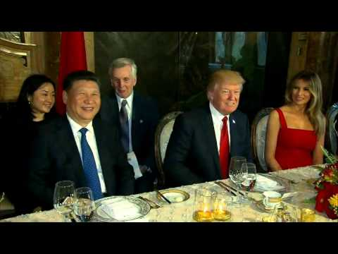 President Trump At Mar-A-Lago Dinner Table With Chinese President Xi Jinping