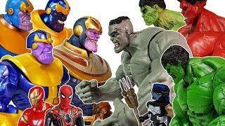 Thanos vs Hulk, Help Avengers~! Captain America, Spider man, Iron Man, Black Panther Toys Play
