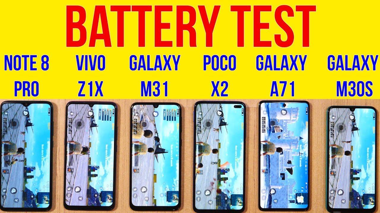 Galaxy M31 vs POCO X2, Note8 Pro, Vivo Z1x, A71 Battery Drain Test | PUBG Heating | Charging [Hindi]